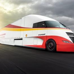Shell Global testing aerodynamic AirFlow Starship truck in cross-country drive